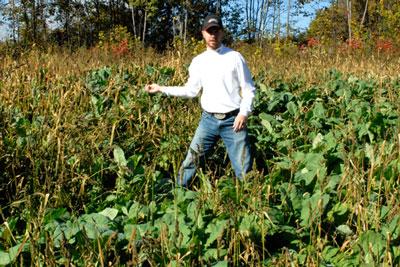 Steve Elmy in hs Rack Stacker Whitetail Deer food plot