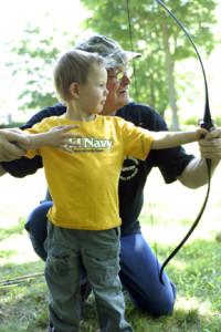 Ken teaching Sam bow basics