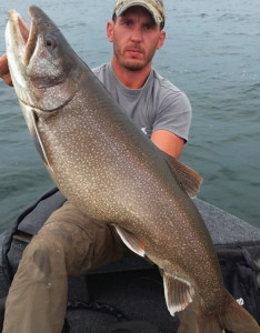 Tom with a giant Laker on Lake Simcoe
