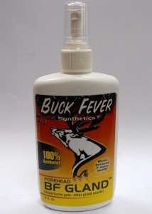Buck Fever Synthetic Forehead Gland Spray in an 8 oz bottle. Great for making a licking branch to Make Bucks Hunt You