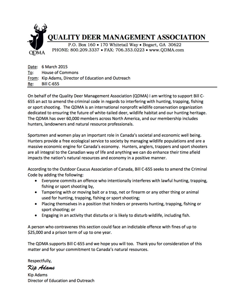 QDMA Supports -Bill C-655